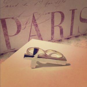 Jewelry - Sideways Cross Silver Double Ring